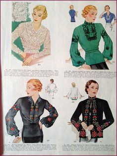 1930s patterns for embroidered blouses. Simplicity pattern catalog. | New Vintage Lady