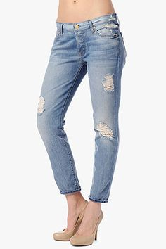 7 For All Mankind Vintage 7 Collection: Josefina Skinny Boyfriend in Light Destroyed: Perfect for Coachella!