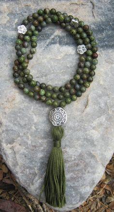 Green Forest Jasper Mala Prayer Beads Rosary by LotusJewels, $29.99