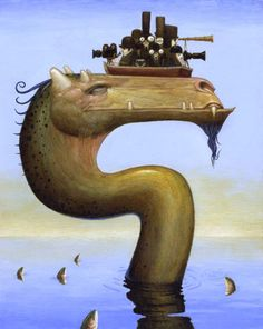Loch Ness Monster by Bill Carman Cute Monsters, Sea Monsters, Loch Ness Monster, Water Dragon, Weird Creatures, Visionary Art, Illustrations, Book Illustration, Surreal Art
