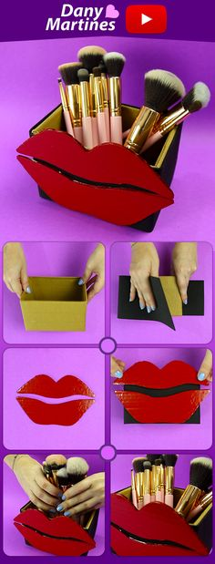 10 AWESOME CARDBOARD DIYs 👄😺 Wall Niche, Cases and some more - Do it yourself mouthpiece brushes, diy, do it yourself, trinket holder - Diy Arts And Crafts, Easy Crafts, Diy Tumblr, Ideias Diy, Cardboard Crafts, Makeup Storage, Diy Makeup, Craft Work, Makeup Organization