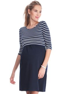 73d59eb49ee67 Queen Bee Simone Maternity Nursing Dress in Blue Stripes by Seraphine  Maternity Nursing Dress, Maternity