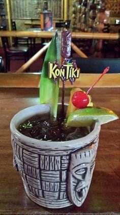 New swizzle stick at the Kon Tiki! (8/25/2015). The mug is cool, too! (Tucson, AZ).