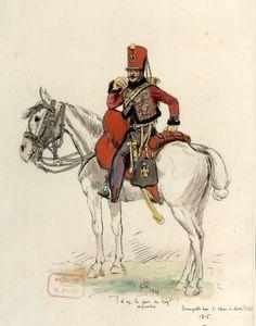 Aquarelle d'Ernest Fort : Trompette du 2ème Régiment de Chasseurs à cheval de la Jeune Garde (1815).