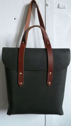 convertible rucksack tote in olive and cherry por fluxproductions