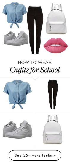 """Back to School"" by rynisawkward on Polyvore featuring Miss Selfridge, Converse and Lime Crime"
