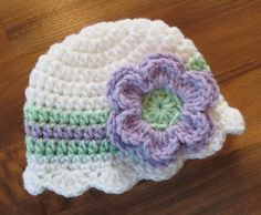 Crocheted White, Lavender & Seafoam Green Baby Girl Hat with Flower ~ Baby Shower Gift ~ Photo Prop ~ SIzes Newborn to 5T ~ MADE TO ORDER by KaraAndMollysKids on Etsy