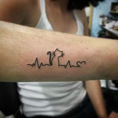 A cat heartbeat - Pet Inspired Tattoos That Every Animal Lover Will Appreciate.