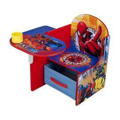Delta Children& Products Chair Desk with Storage Bin - Spiderman Fabric Storage Bins, Desk Storage, Toddler Desk And Chair, Boy Room, Kids Room, Festa Pj Masks, Black Friday Toy Deals, Spiderman Kids, Spiderman Theme
