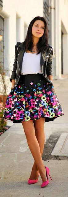 Street style   White top, printed black pleated skirt, leather jacket, pink heels