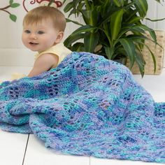 Squares in the Corners Baby Blanket | AllFreeCrochetAfghanPatterns.com