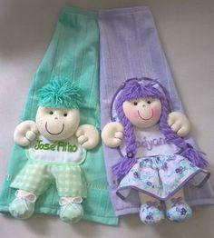 toalhinha com boneca - toalha lavabo decorada personalizável