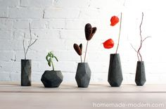 Awesome instructions on how to make these concrete vases (or candles). HomeMade Modern DIY EP11 Bloktagons Options
