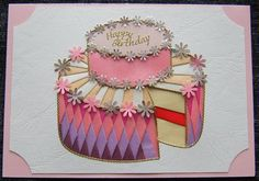 Card Gallery - Birthday Cake Iris Folding Pattern