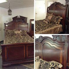 Bed - Queen Sz. Wooden Sleigh Bed - $599.95