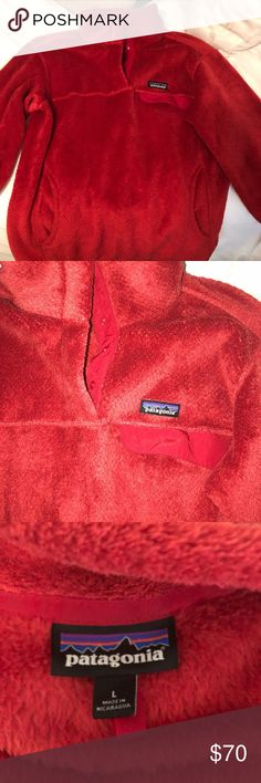 PATAGONIA W's Re-Tool Snap T Pullover Red fuzzy pullover. Large pockets. Patagonia Tops Sweatshirts & Hoodies