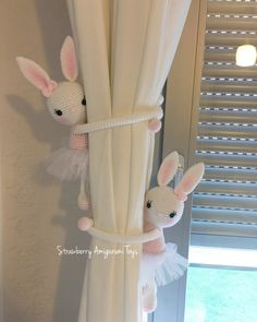 This is an amigurumi bunny curtain tie back. Its about 30 cm tall. It is crocheted with acrylic yarn and filled with fibre. Its arms are about 24 cm. It is a good object for girls nursery. This price is ONLY for one bunny. Girl Nursery, Girl Room, Girls Bedroom, Ballerina Nursery, Baby Ballerina, Bedroom Ideas, Curtain Holder, Curtain Tie Backs, Bunny Crochet