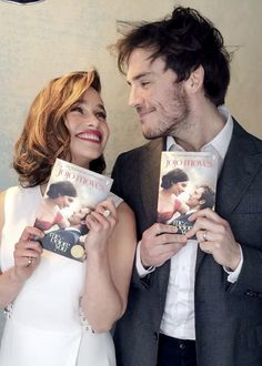 """""""Emilia Clarke and Sam Claflin behind the scenes of a new photoshoot for Me Before You. """" this is so cute"""