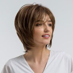 Blonde Unicorn Fluffy Natural Bangs Wigs Highlight 10 Inch Brown Multi Layer Hair Wigs For Women Heat Resistant Synthetic Fiber Thin Hair Cuts, Short Straight Hair, Short Curly Hair, Curly Hair Styles, Natural Hair Styles, Bob Hairstyles For Thick, Hairstyles For Round Faces, Wig Hairstyles, Haircuts