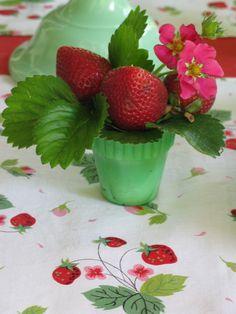 Strawberries in milk glass