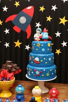 What a awesome cake at an outer space birthday party! See more party ideas at http://CatchMyParty.com!