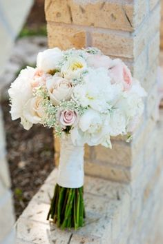 Vintage soft pink and white bridal bouquet by Wild Bunches Floral, Photo by Kristi Wright Photography