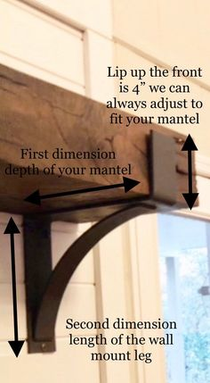 Farmhouse Mantel Brackets - 4 wide with 3 curved support bar Wooden Mantel, Rustic Mantel, Rustic Fireplaces, Home Fireplace, Fireplace Remodel, Fireplace Design, Rustic Decor, Diy Mantel, Fireplace Ideas