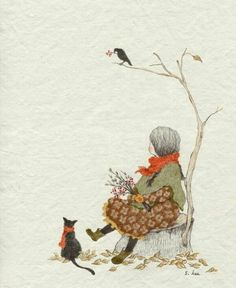 Soloillustratori: Lee S. Art And Illustration, Illustration Mignonne, Photo Images, Cute Images, Art Fantaisiste, Art Mignon, Inspiration Art, Whimsical Art, Oeuvre D'art