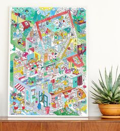 OMY Home giant coloring poster Poster Colour, Kids Room, Doodles, Illustration, Indigo, Coloring, Home, Lifestyle, Design
