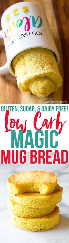 Low Carb Magic Mug Bread Recipe - Made in less than 5 minutes and magically Gluten Free Grain Free Sugar Free Dairy Free Paleo and Ketogenic friendly! via Sommer Lowest Carb Bread Recipe, Low Carb Bread, Low Carb Keto, Keto Mug Bread, Dairy Free Low Carb, Gluten Free Grains, Gluten Free Baking, Gluten Free Mug Cake, Keto Foods