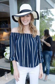 Ashley Hinshaw wearing Michael Stars Bali Brimmed Fedora