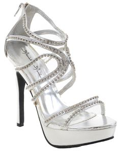 5854b50af0733 Silver Jeweled Rhinestone Evening Open Toe Platform Sandal Formal Heels
