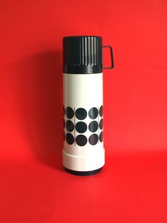 Funky Rotpunkt Mod Thermos Vacuum Flask - Dr Zimmermann Vintage Black Hot & Cold Carrier Carafe - Made in West Germany by FunkyKoala on Etsy
