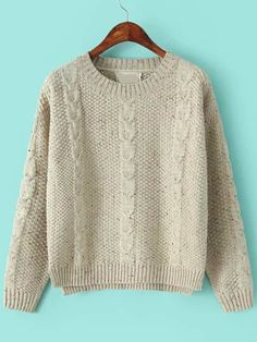 b0736503ea Apricot Round Neck Classical Cable Knit Sweater -SheIn(abaday) Winter  Survival