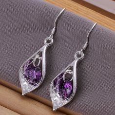 PMANY Mother's Day Gift Open Teardrop Purple Crystal Sterling Silver Plated Dangle Earrings (Amethyst) PMANY http://www.amazon.com/dp/B00TIHQIAM/ref=cm_sw_r_pi_dp_xERXwb1XP2SGT