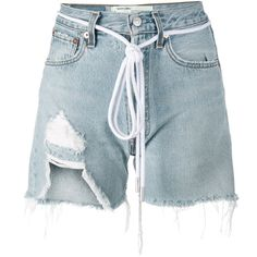 Off-White distressed denim shorts (4.439.555 IDR) ❤ liked on Polyvore featuring shorts, blue, blue shorts, off white shorts and distressed denim shorts