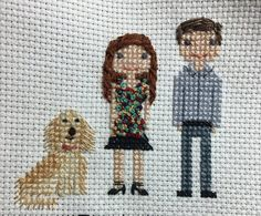 Custom cross stitch family portrait made to your specifications - Unique, personalized gift - 3 character portrait - Additional people or animals can be added for $20 each - Portrait is customized per your specifications for colors and using pictures that you provide - Additional personalization items can be added at no cost (i.e., football, golf club, etc.) - Personalized with your choice of text - Cotton fabric and thread - perfect for the second (cotton) anniversary