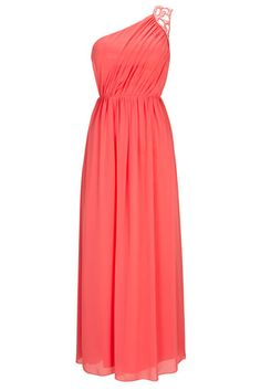 Coral One Shoulder Maxi Dress