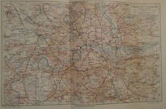 1896 UMGEBUNG VON LONDON alte Landkarte Karte Antique Map Lithographie