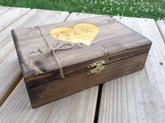 Large Personalized Box Engraved Wooden Keepsake by BloominBridal, $29.00