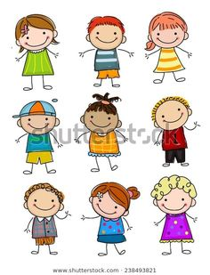 Find Group Sketch Kids stock images in HD and millions of other royalty-free stock photos, illustrations and vectors in the Shutterstock collection. Art Drawings For Kids, Doodle Drawings, Drawing For Kids, Cartoon Drawings, Easy Drawings, Doodle Art, Art For Kids, Doodle Kids, Stick Figure Drawing