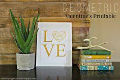 Salt and Pepper Moms: Geometric Valentine's Printable ~ shared at DIY Sunday Showcase Link Party on VMG206 (Saturdays at 5pm CST). #diyshowcase