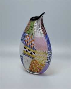 Michael Hunter for Twists Glass multi cane & incalmo Flat Patch vase http://www.scarabantiques.com/michael-hunter-for-twists-glass-multi-cane-incalmo-flat-patch-vase/1001