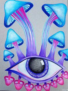 ideas for eye drawing creative colored pencils Hippie Painting, Trippy Painting, Hippie Drawing, Mushroom Drawing, Mushroom Art, Small Canvas Art, Mini Canvas Art, Trippy Drawings, Art Drawings Sketches