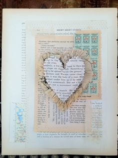 Marah Johnson The Particular Heart-Sewn Mixed media collage on Vintage book page-OOAK