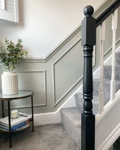 Panelling on stairs with black banister House Stairs, Home Living Room, Staircase Decor, Victorian Hallway, Stairway Decorating, House Interior, Living Room Grey, Stairs Design, Narrow Hallway Decorating