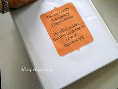 Emergency Preparedness Binder