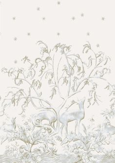 Sika Wall Panel A wide width wall panel with a large scale pastel chalk print of wild deer in a peaceful forest setting, printed in a gentle mulberry on an off-white ground. Design arranged over two panels giving a double width repeat. A stunning attribute for hallways, dining rooms and feature walls.