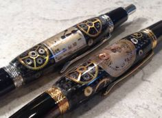 Some call them Steampunk but we call them Watchworks pens.....check woodregrown4u on facebook and Etsy for more information!