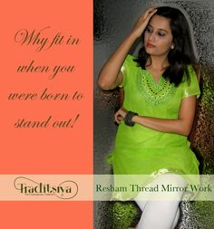 Feel fresh in the rains with this very pretty Resham and Mirror work kurti.